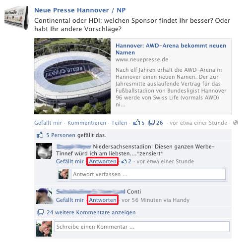Kommentar-Direktantwort bei facebook.
